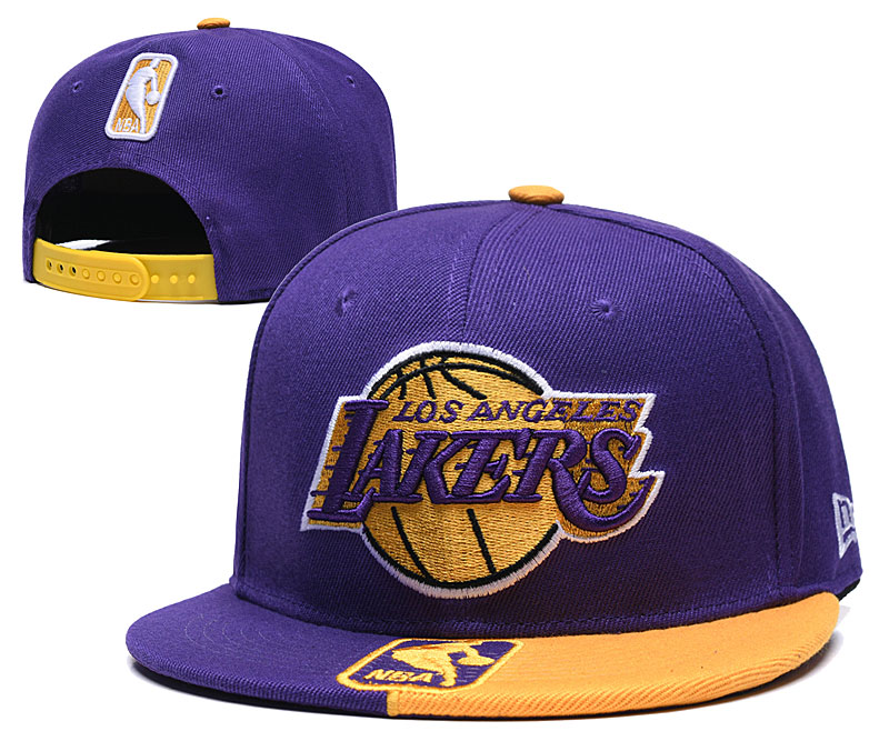 Lakers Team Logo Purple Yellow Adjustable Hat GS