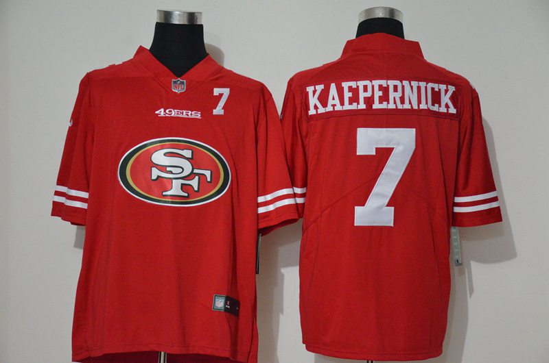 Nike 49ers 7 Colin Kaepernick Red Team Big Logo Number Vapor Untouchable Limited Jersey