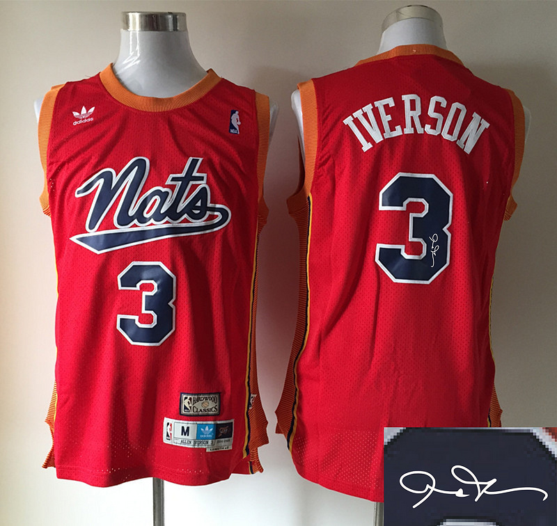 76ers 3 Iverson Red Hardwood Classics Signature Edition Jerseys