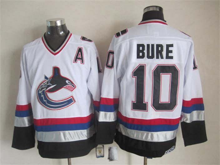 Canucks 10 Bure White A Patch Jersey