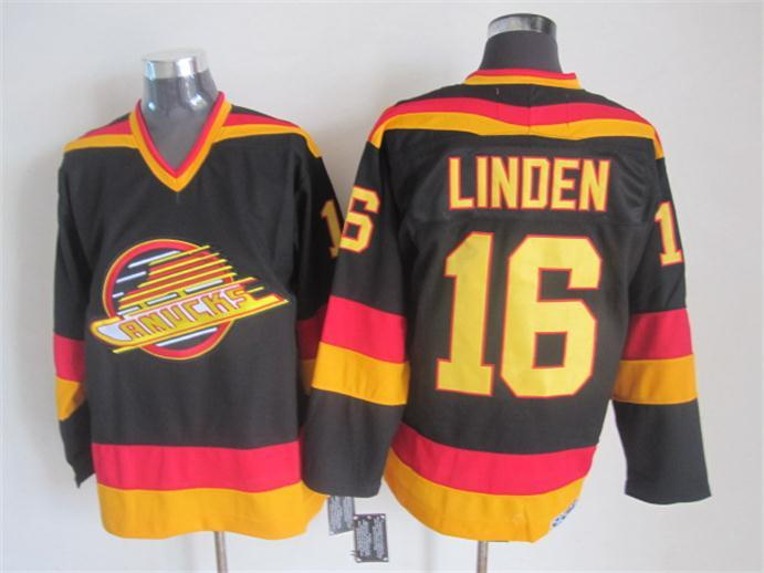 Canucks 16 Linden Black Jersey