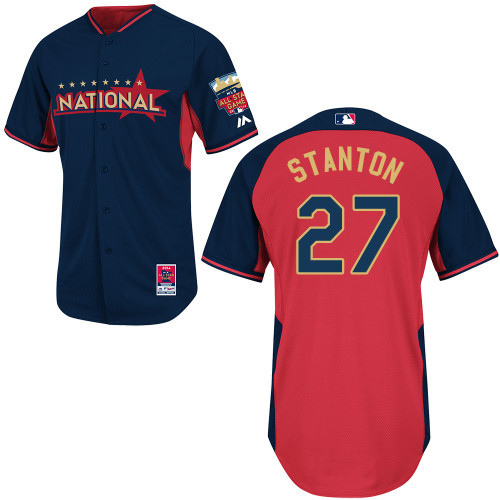 National League Marlins 27 Stanton Red 2014 All Star Jerseys