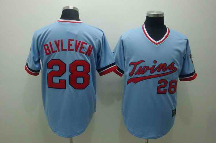 Twins 28 blvleven baby blue[cooperstown throwback] Jerseys