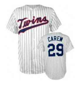 Twins 29 Rod Carew White Throwback Jersey