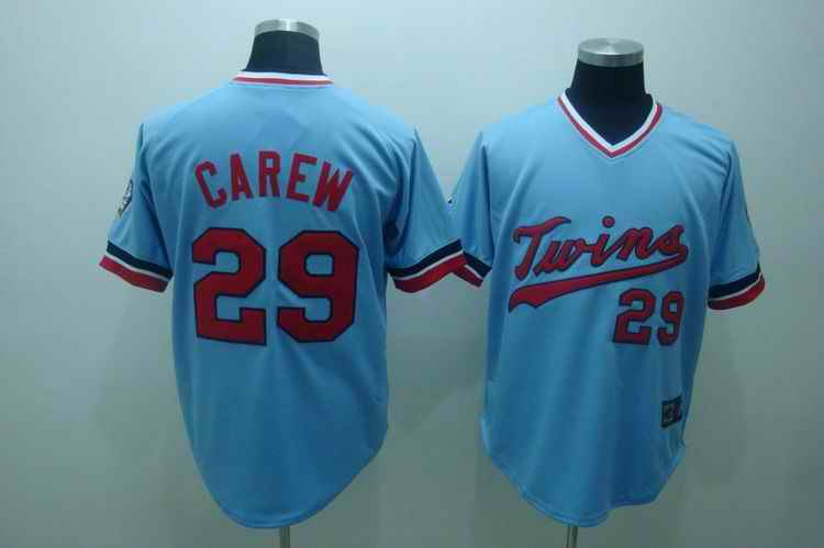 Twins 29 carew baby blue[cooperstown throwback] jerseys