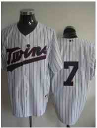 Twins 7 Joe Mauer white with blue letter jersey