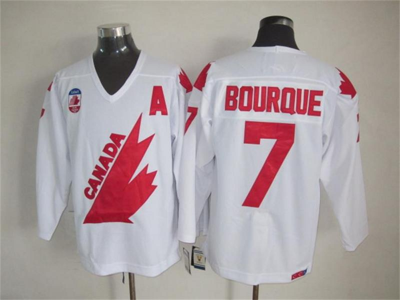 Canada 7 Bourque White Throwback Jersey
