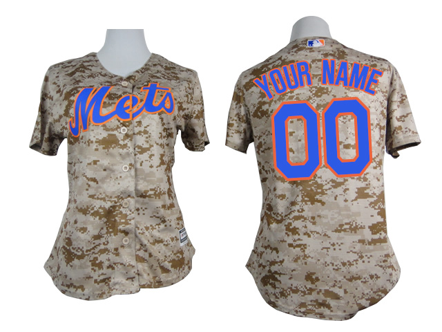 Mets Camo Customized Women New Cool Base Jersey
