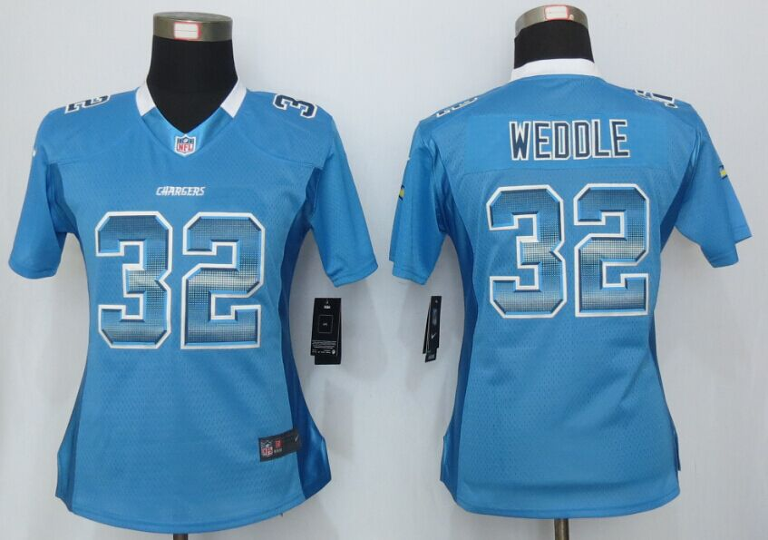Nike Chargers 32 Eric Weddle Blue Pro Line Fashion Strobe Women Jersey