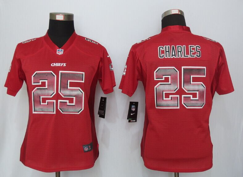 Nike Chiefs 25 Jamaal Charles Red Pro Line Fashion Strobe Women Jersey