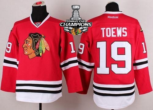Blackhawks 19 Toews Red 2015 Stanley Cup Champions Jersey