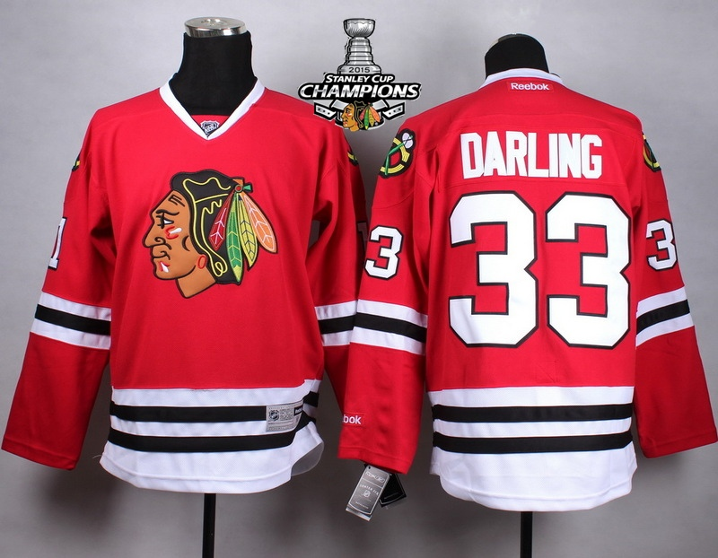 Blackhawks 33 Darling Red 2015 Stanley Cup Champions Jersey