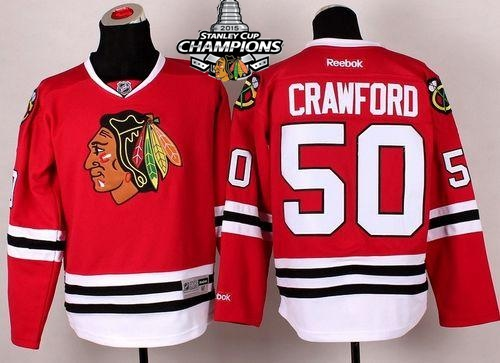 Blackhawks 50 Crawford Red 2015 Stanley Cup Champions Jersey