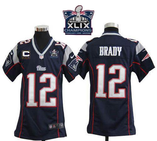 Nike Patriots 12 Brady Blue With C Patch 2015 Super Bowl XLIX Champions Youth Game Jerseys