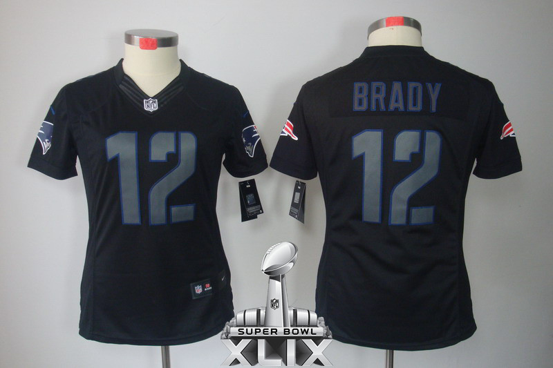 Nike Patriots 12 Brady Black Impact Women Limited 2015 Super Bowl XLIX Jerseys
