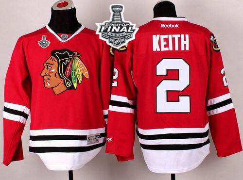 Blackhawks 2 Duncan Keith Red 2015 Stanley Cup Jersey