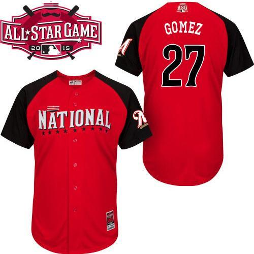 National League Brewers 27 Gomez Red 2015 All Star Jersey
