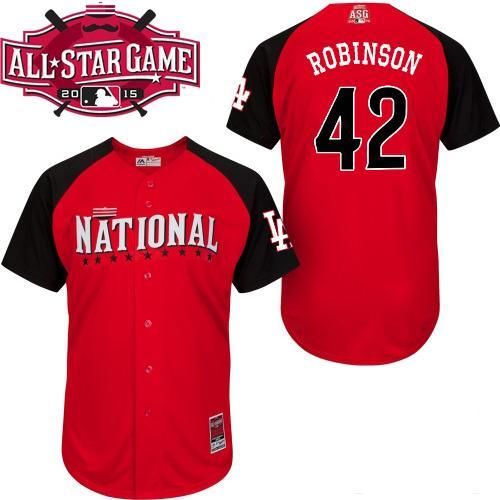 National League Dodgers 42 Robinson Red 2015 All Star Jersey