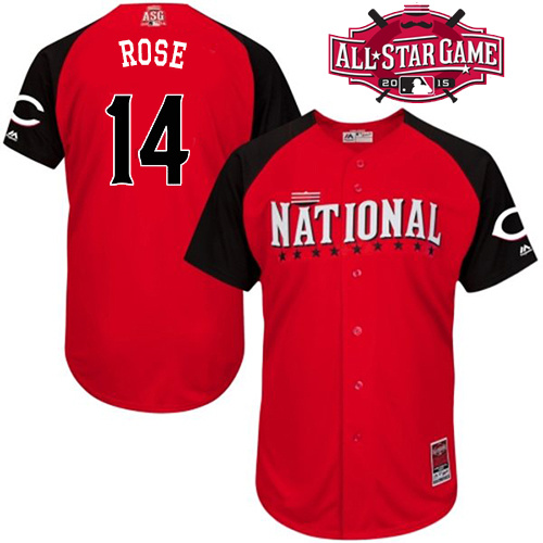 National League Reds 14 Rose Red 2015 All Star Jersey