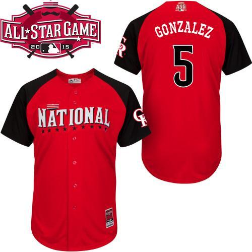 National League Rockies 5 Gonzalez Red 2015 All Star Jersey