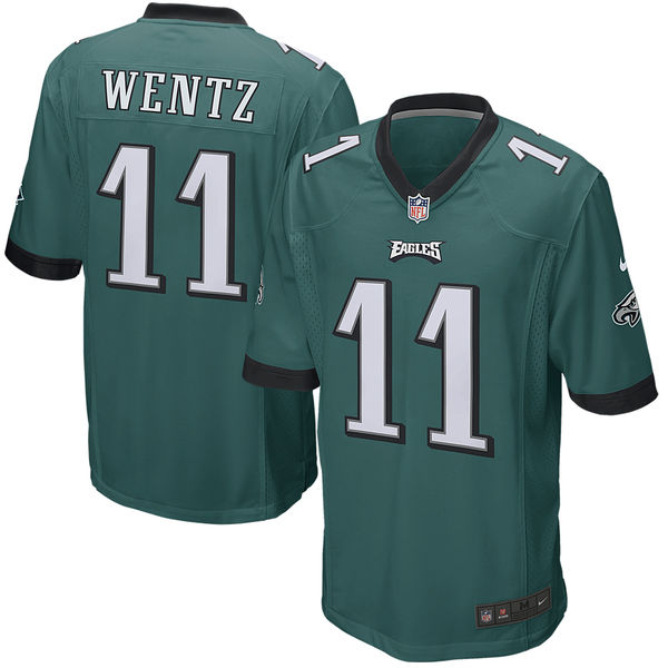 Nike Eagles 11 Carson Wentz Green Youth Game Jersey