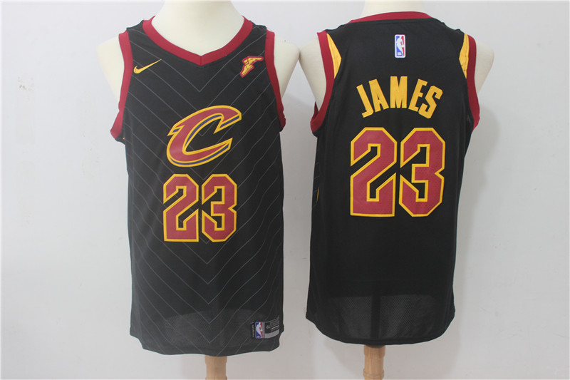 Cavaliers 23 LeBron James Black Nike Swingman Jersey