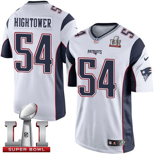 Nike Patriots 54 Dont'a Hightower White Youth 2017 Super Bowl LI Game Jersey