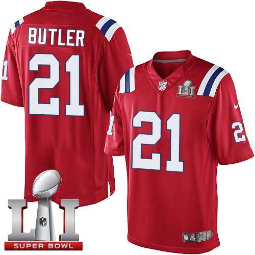 Nike Patriots 21 Malcolm Butler Red Youth 2017 Super Bowl LI Game Jersey