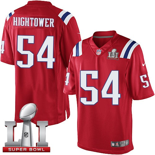Nike Patriots 54 Dont'a Hightower Red Youth 2017 Super Bowl LI Game Jersey
