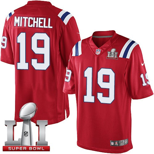 Nike Patriots 19 Malcolm Mitchell Red Youth 2017 Super Bowl LI Game Jersey