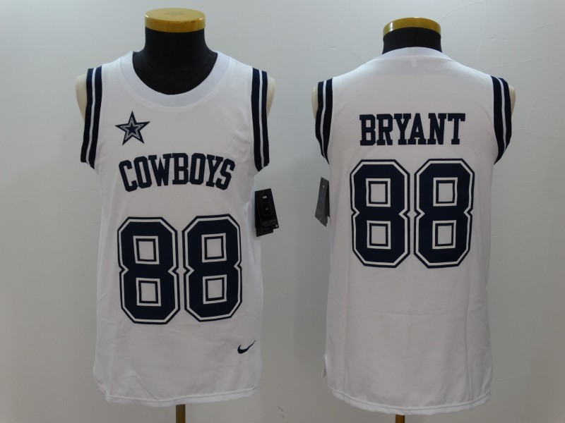 Nike Cowboys 88 Dez Bryant White Color Rush Name & Number Tank Top
