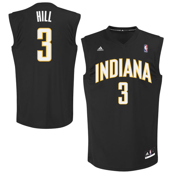Pacers 3 George Hill Black Fashion Replica Jersey