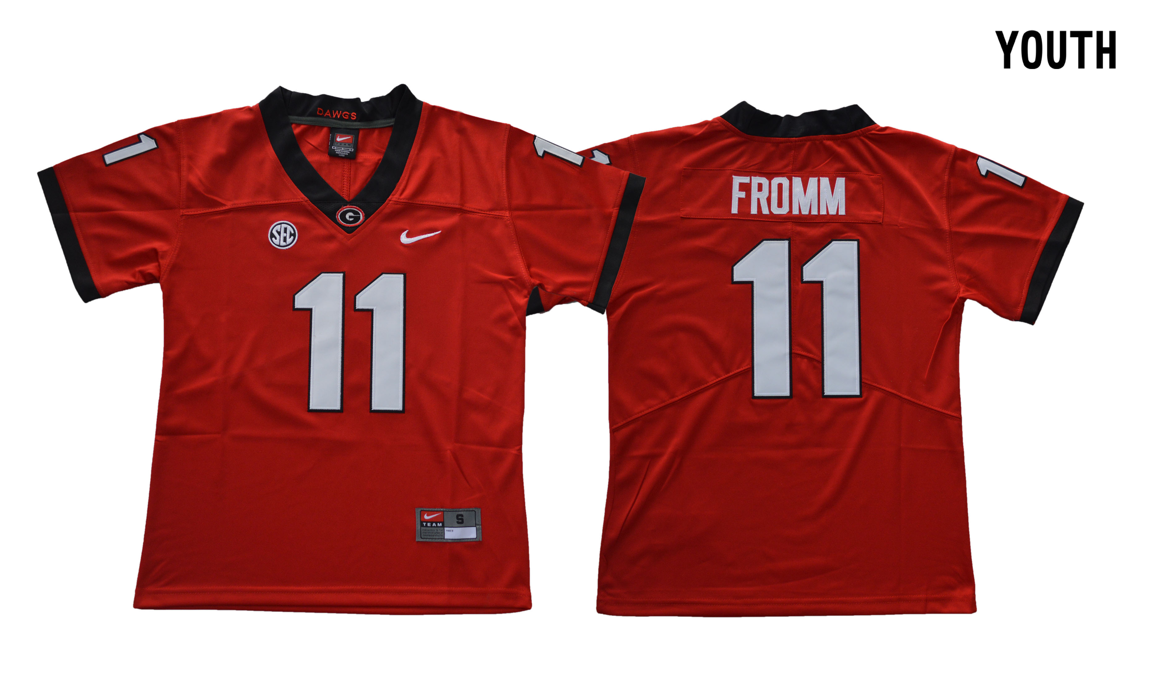 Georgia Bulldogs 11 Jake Fromm Red Youth College Football Jersey
