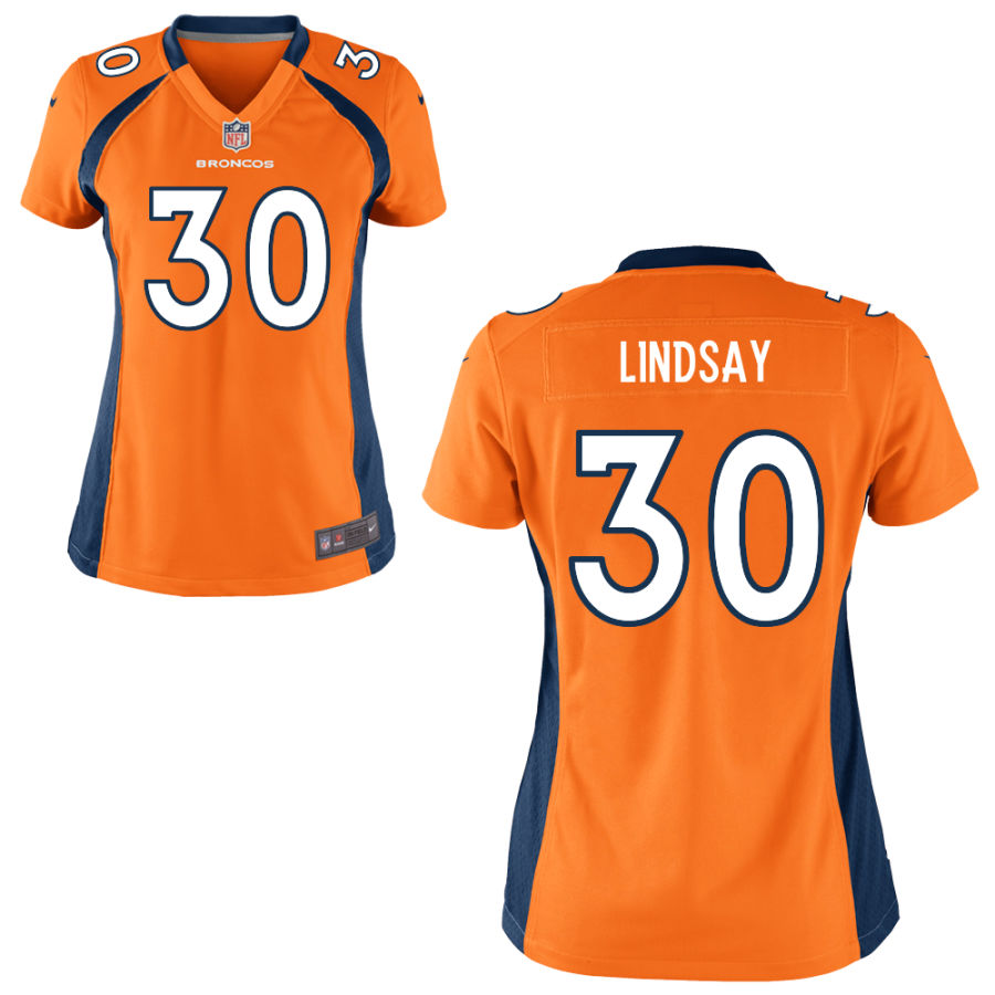 Nike Broncos 30 Phillip Lindsay Orange Women Game Jersey