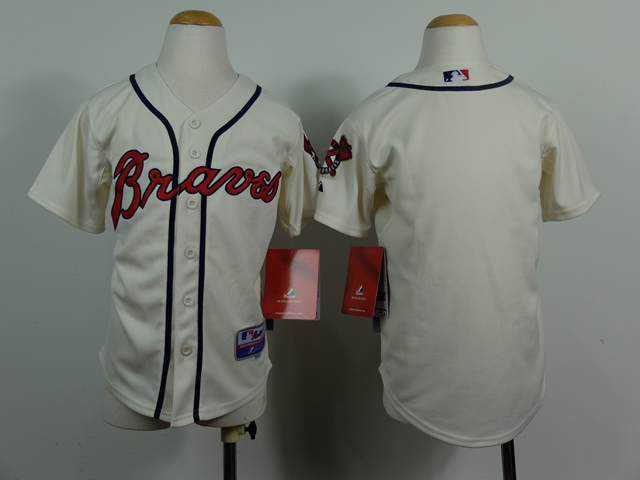 Braves Blank Cream Youth Customized Jersey