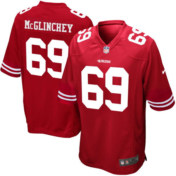 Nike 49ers 69 Mike McGlinchey Red 2018 NFL Draft Pick Elite Jersey
