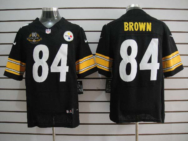 Nike Steelers 84 Antonio Brown w 80th Anniversary Patch Black Big Size Elite Jersey