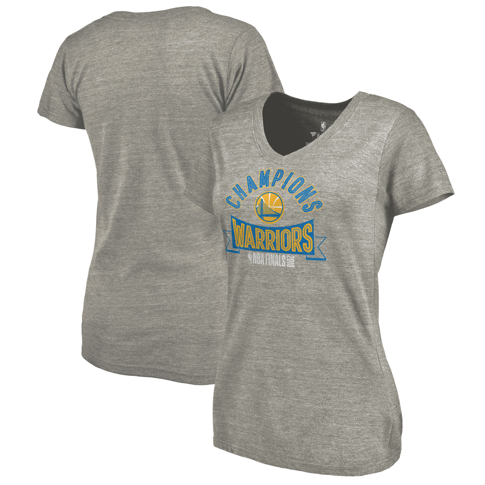 Golden State Warriors Fanatics Branded Women's 2018 NBA Finals Champions One Commitment Tri-Blend V-Neck T-Shirt Heather Gray