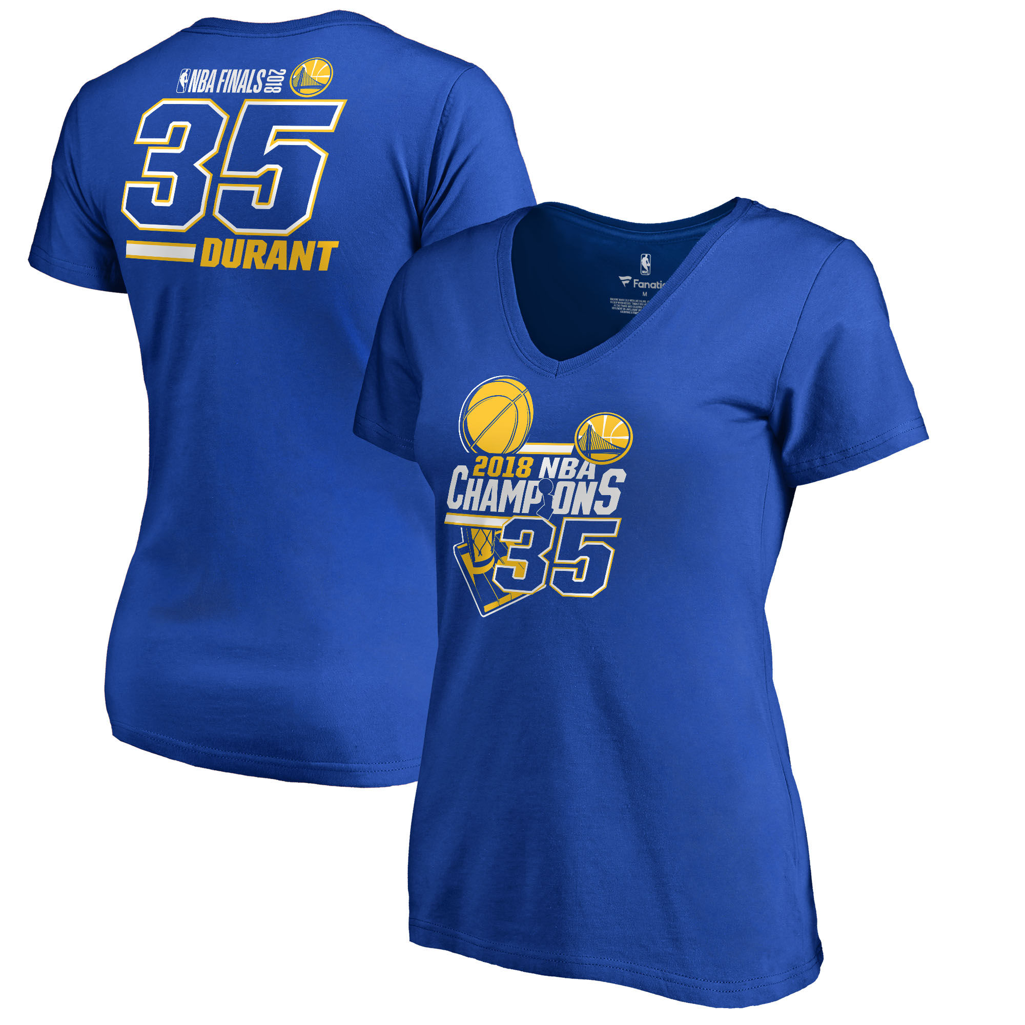 Golden State Warriors Kevin Durant Fanatics Branded Women's 2018 NBA Finals Champions Name and Number V-Neck T-Shirt Royal