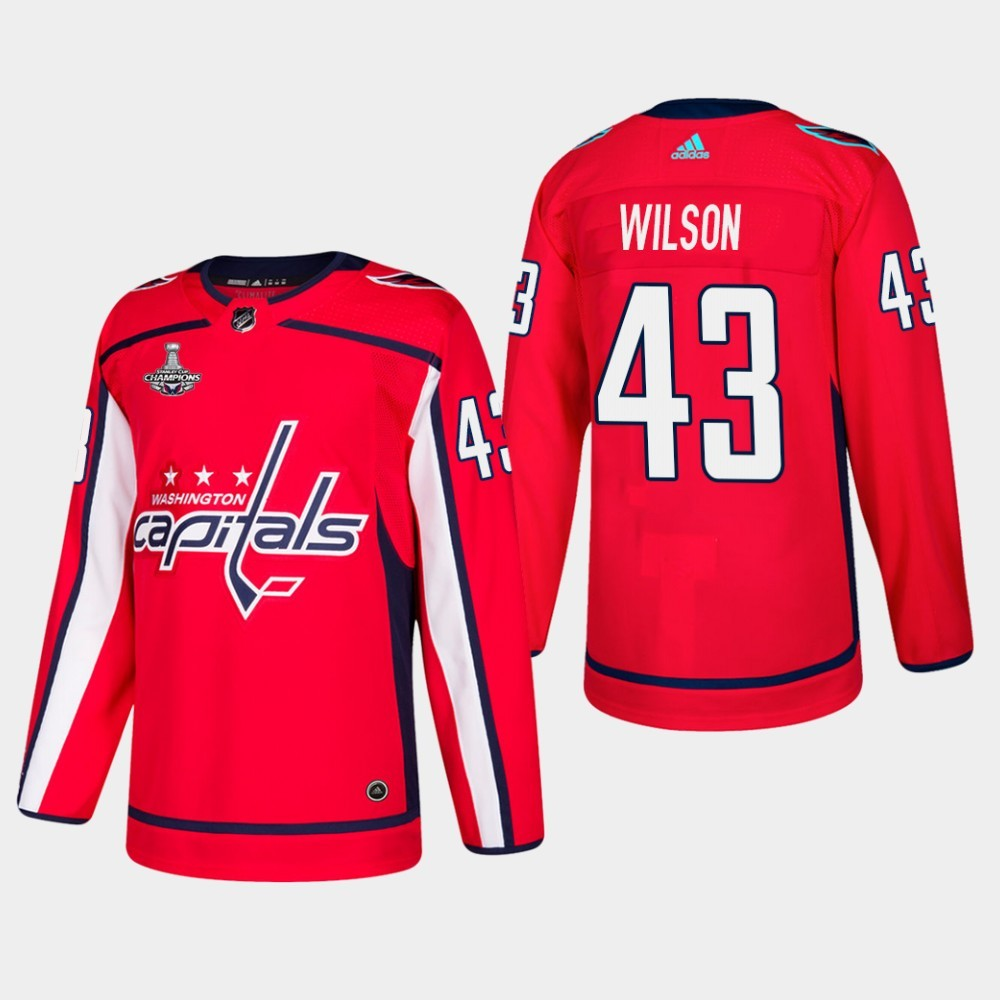 Capitals 43 Tom Wilson Red 2018 Stanley Cup Champions Adidas Jersey