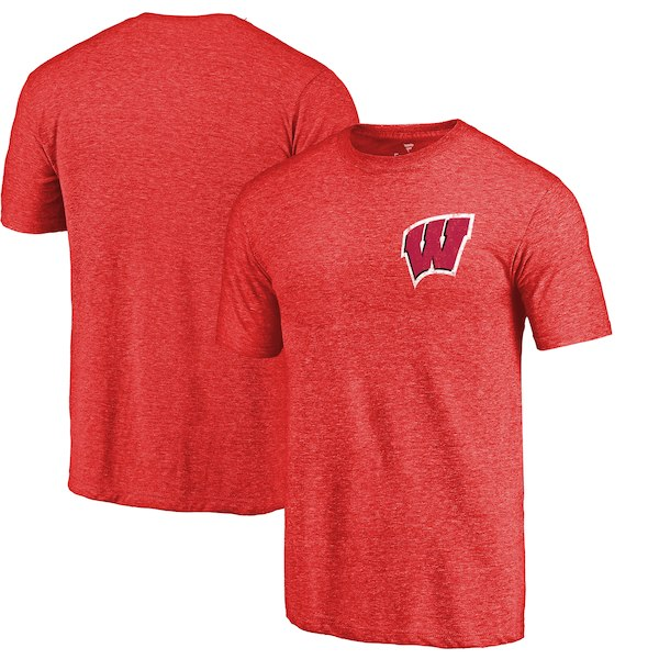 Wisconsin Badgers Fanatics Branded Red Heather Left Chest Distressed Logo Tri-Blend T-Shirt