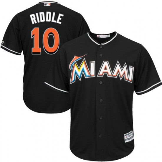 Marlins 10 JT Riddle Black Cool Base Jersey
