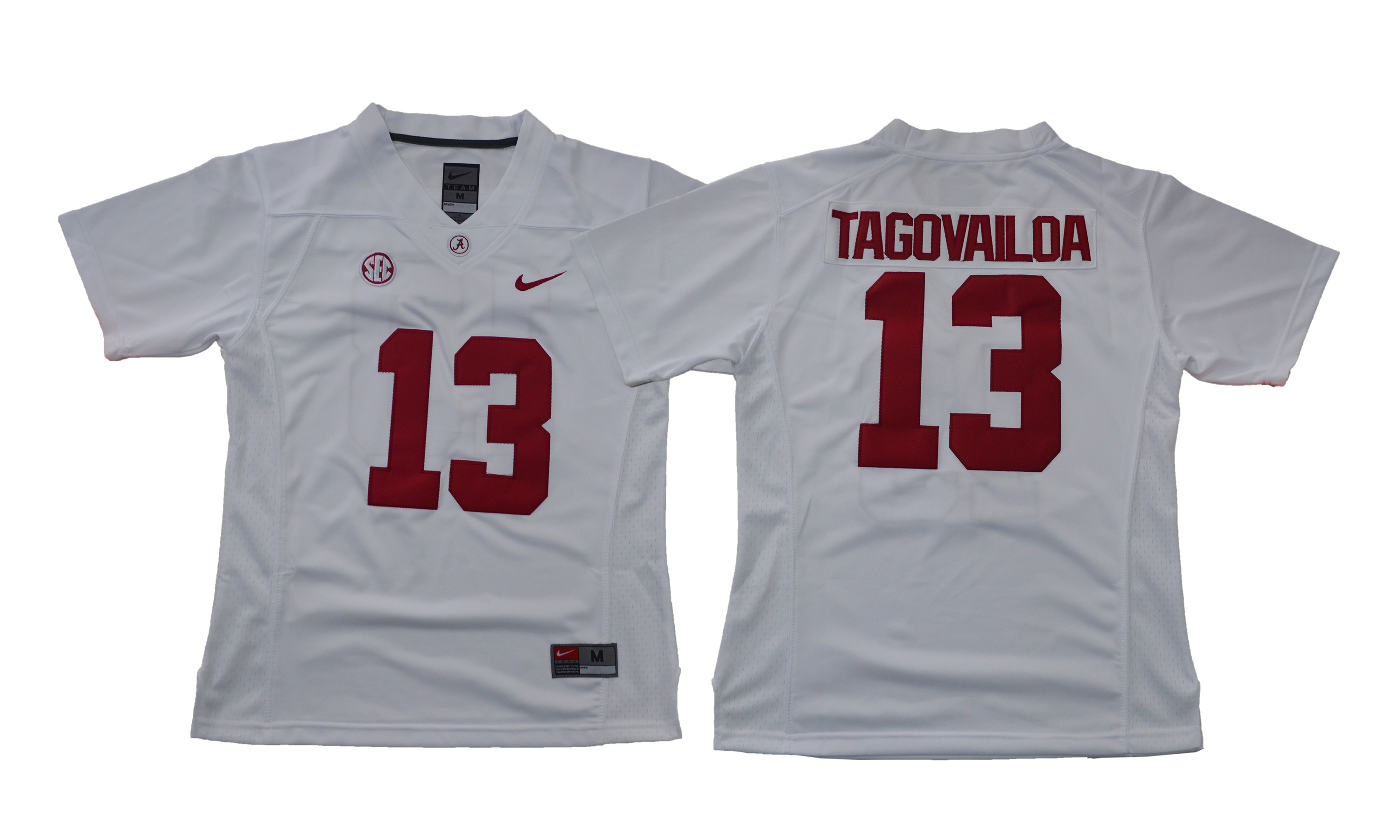 Alabama Crimson Tide 13 Tua Tagovailoa White Women With Diamond Logo College Football Jersey