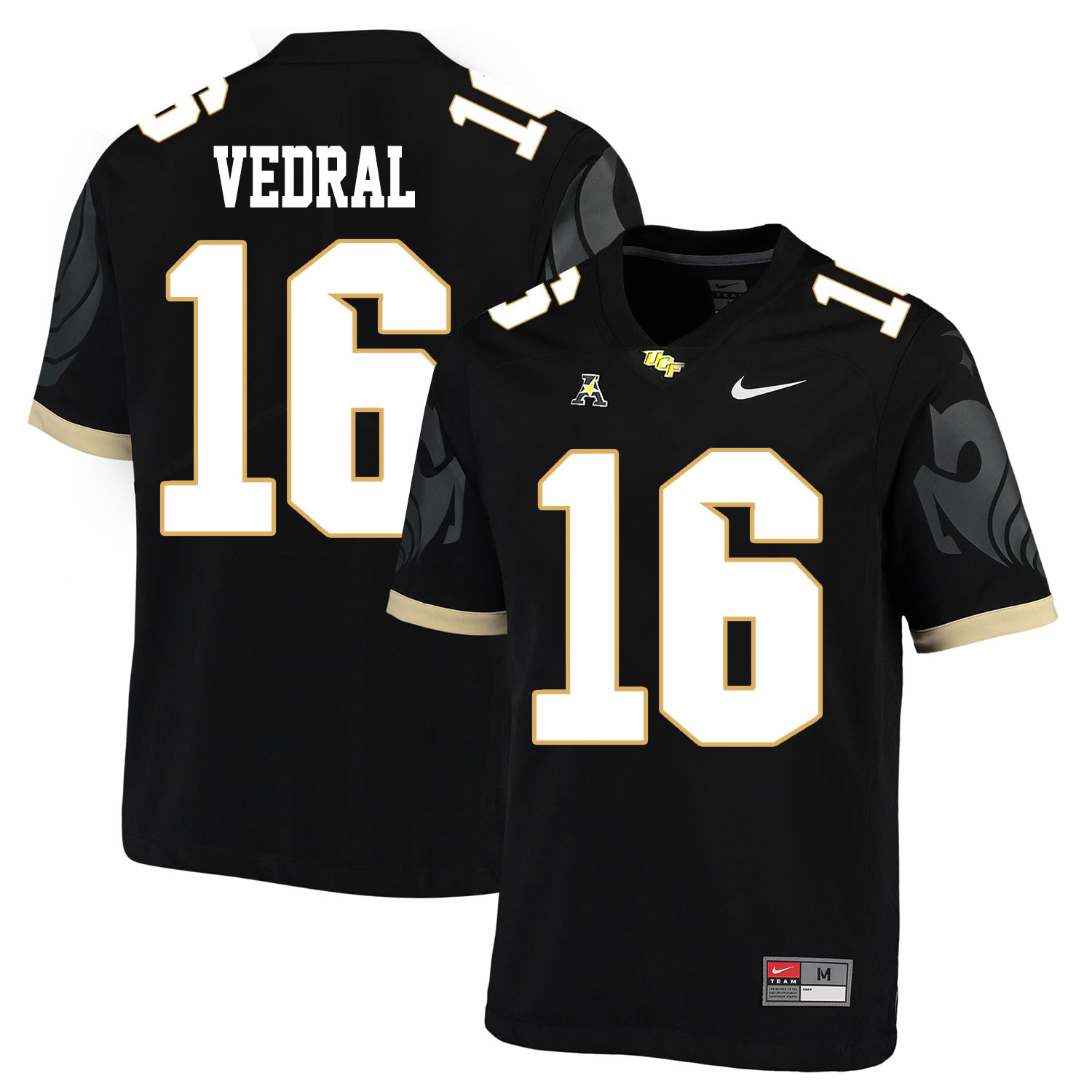 UCF Knights 16 Noah Vedral Black College Football Jersey