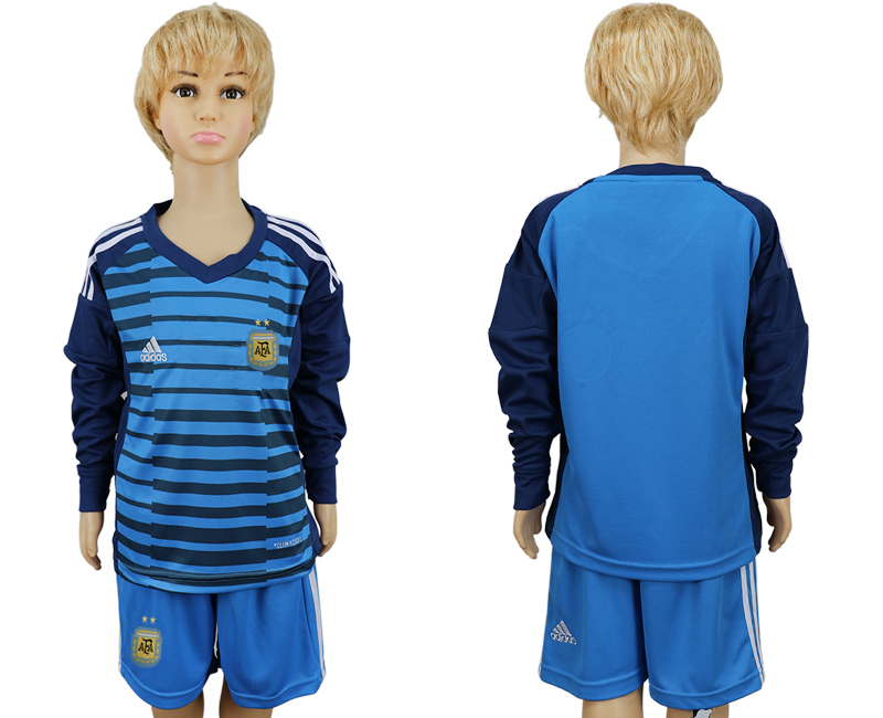 Argentina Lake Blue Goalkeeper Youth 2018 FIFA World Cup Long Sleeve Soccer Jersey