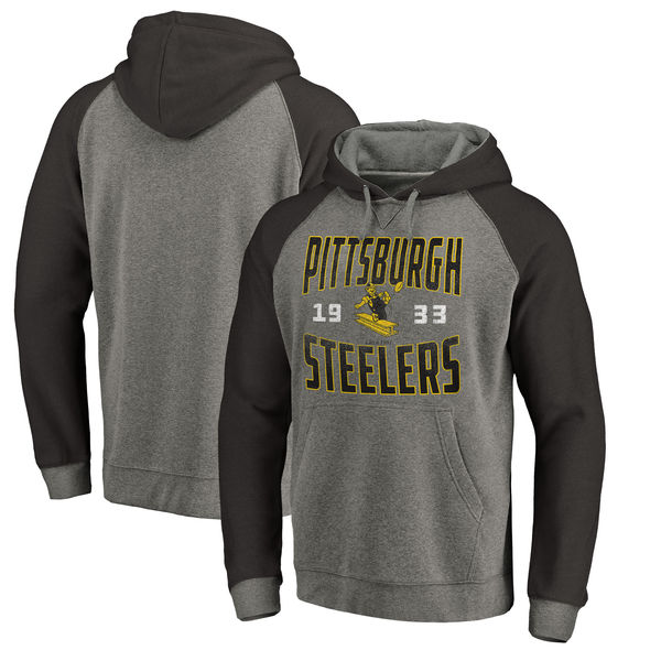 Pittsburgh Steelers NFL Pro Line by Fanatics Branded Timeless Collection Antique Stack Tri-Blend Raglan Pullover Hoodie Ash