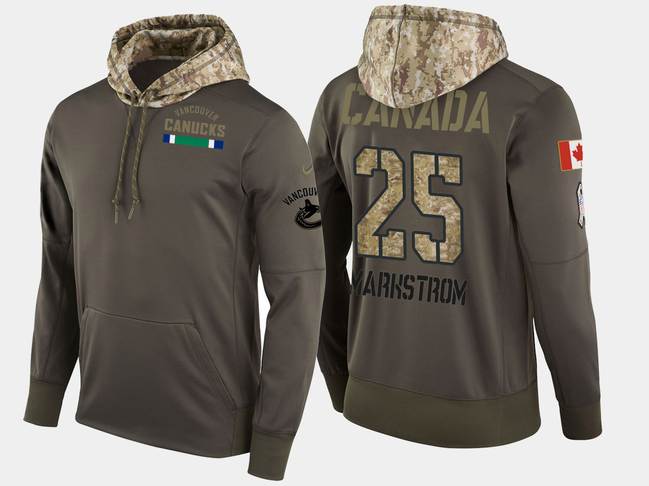 Nike Canucks 25 Gacob Markstrom Olive Salute To Service Pullover Hoodie