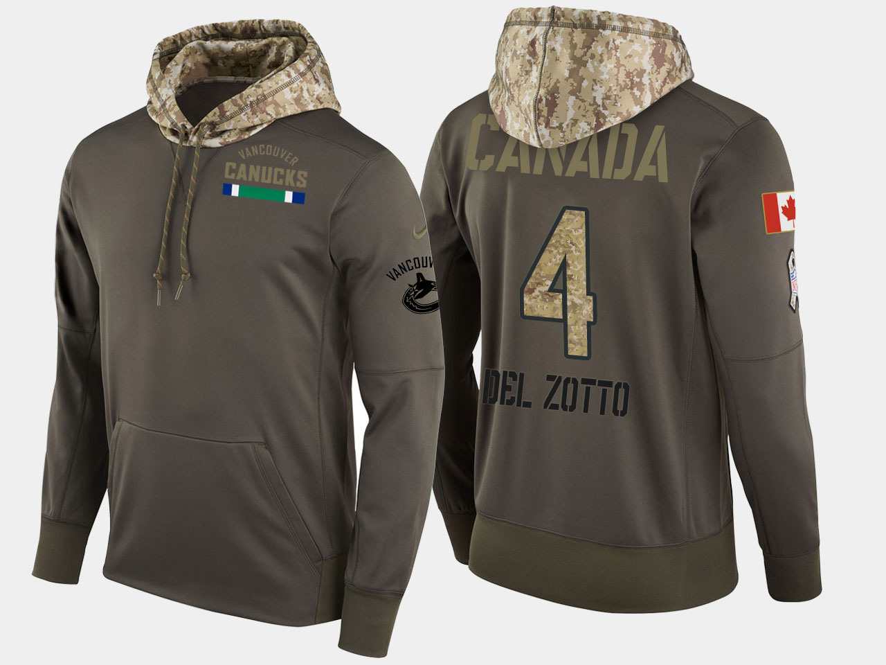 Nike Canucks 4 Michael Del Zotto Olive Salute To Service Pullover Hoodie