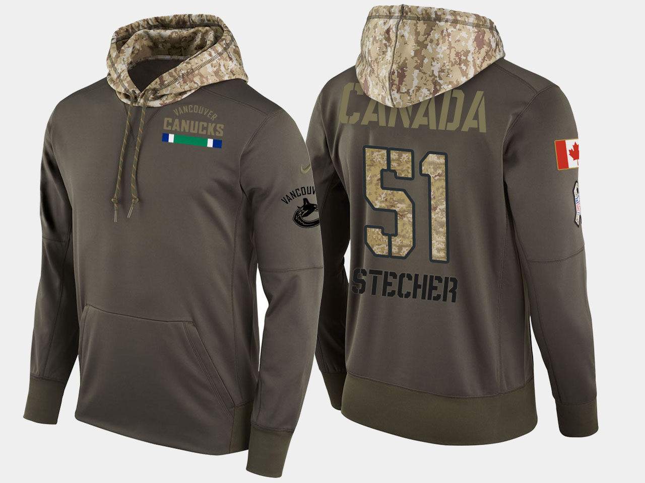 Nike Canucks 51 Troy Stecher Olive Salute To Service Pullover Hoodie