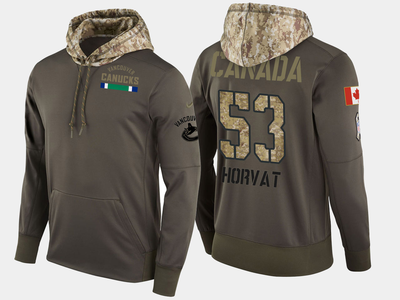 Nike Canucks 53 Bo Horvat Olive Salute To Service Pullover Hoodie